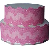 Pink Edible SUGAR LACE Ribbon 3X Strips 11.5''x3.5'' (28.5cmx8.5cm) Handmade