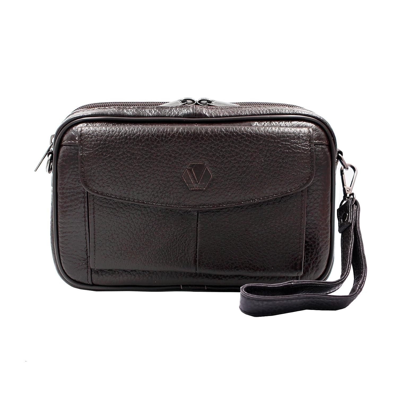 Mens Handbag Genuine Leather Crossbody Shoulder Messenger Bag Organizer Checkbook Wallet Purse