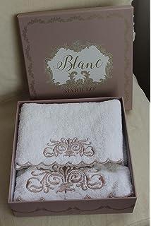 Blanc Mariclo – – Juego de toallas de baño blancas bordadas Monique Collection