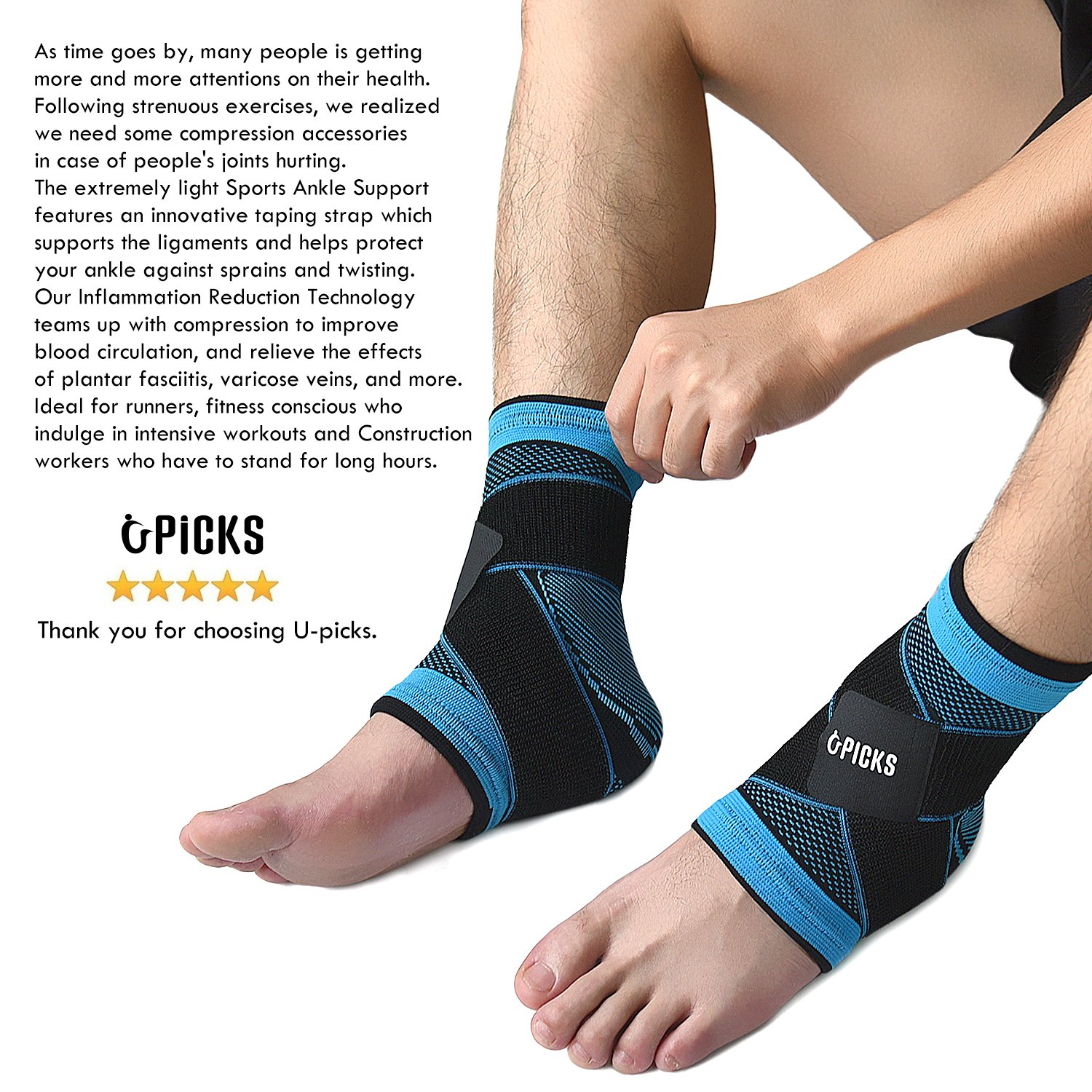 Plantar Fasciitis Sock with Arch Support, Eases Swelling, Achilles tendon & Ankle Brace Sleeve with Compression Effective Joint Pain Foot Pain Relief from Heel Spurs -Single by U-picks (Image #5)