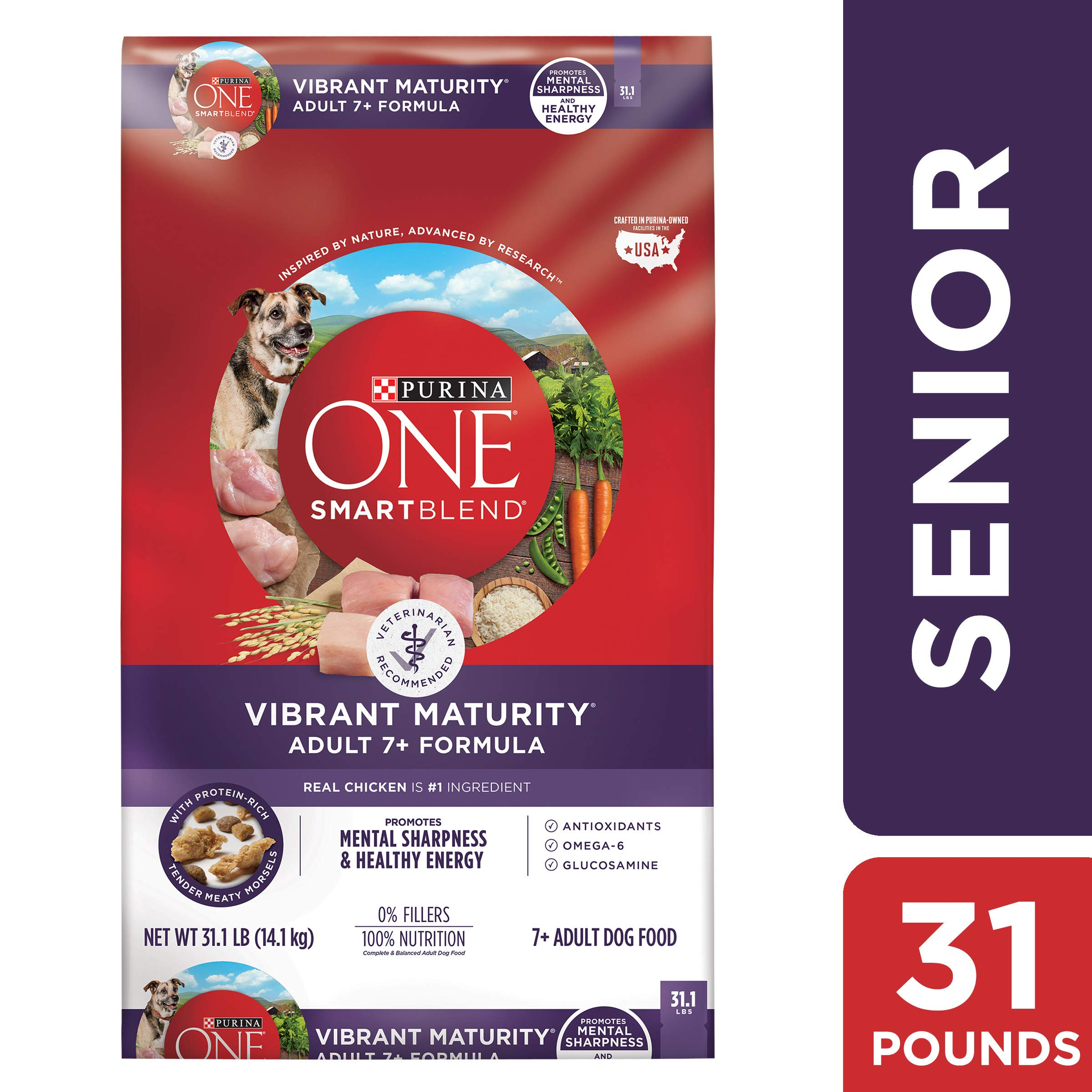 Purina ONE Senior Dry Dog Food, SmartBlend Vibrant Maturity Adult 7+ Formula - 31.1 lb. Bag by Purina ONE
