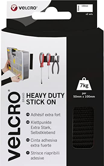 Velcro Heavy Duty Stick On Tape Adhesive Roll Black 50mm x 1m Parts Tool Holder