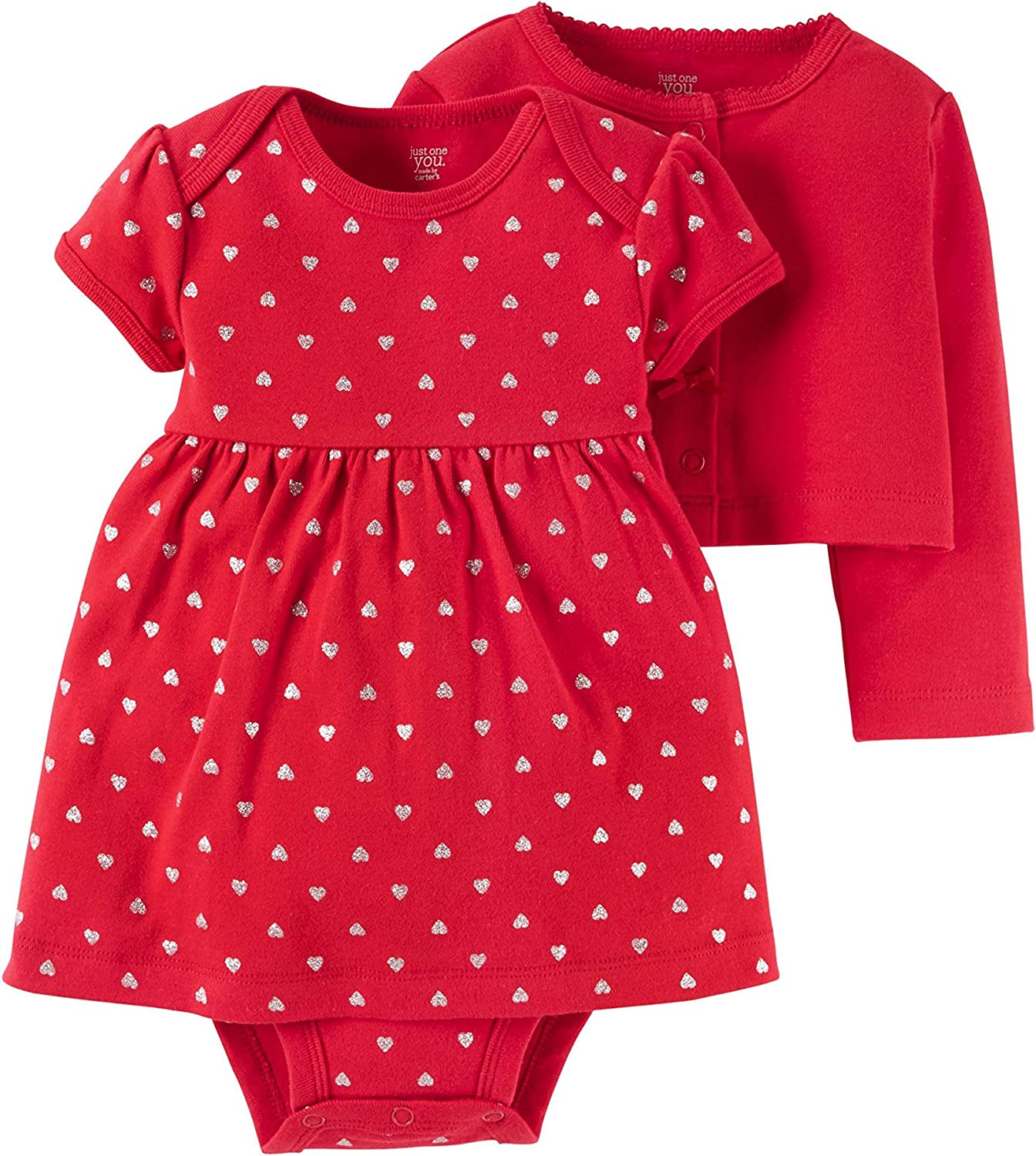 Carters Baby Girls 2 Piece Heart Print Cardigan Set