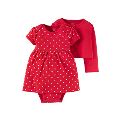 Just One You By Carteru0027s Baby Valentines Day Dress With Cardigan Set  (Newborn, Red
