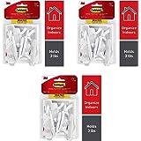 Command Hooks, Indoor Use, Organize Damage-Free, White, 20 Hooks, 24 Strips (17001-MPES) Pack of 3