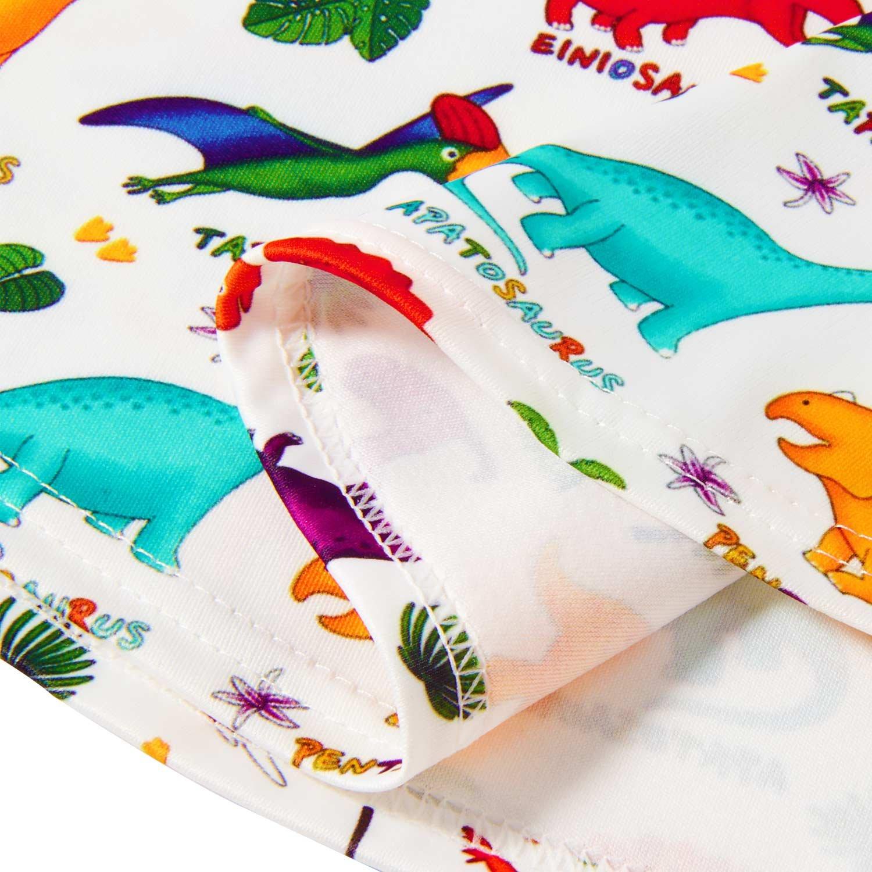 RAISEVERN Girls Summer Short Sleeve Dress Dinosaurs Printing Casual Dress Kids 8-9 Years by RAISEVERN (Image #4)