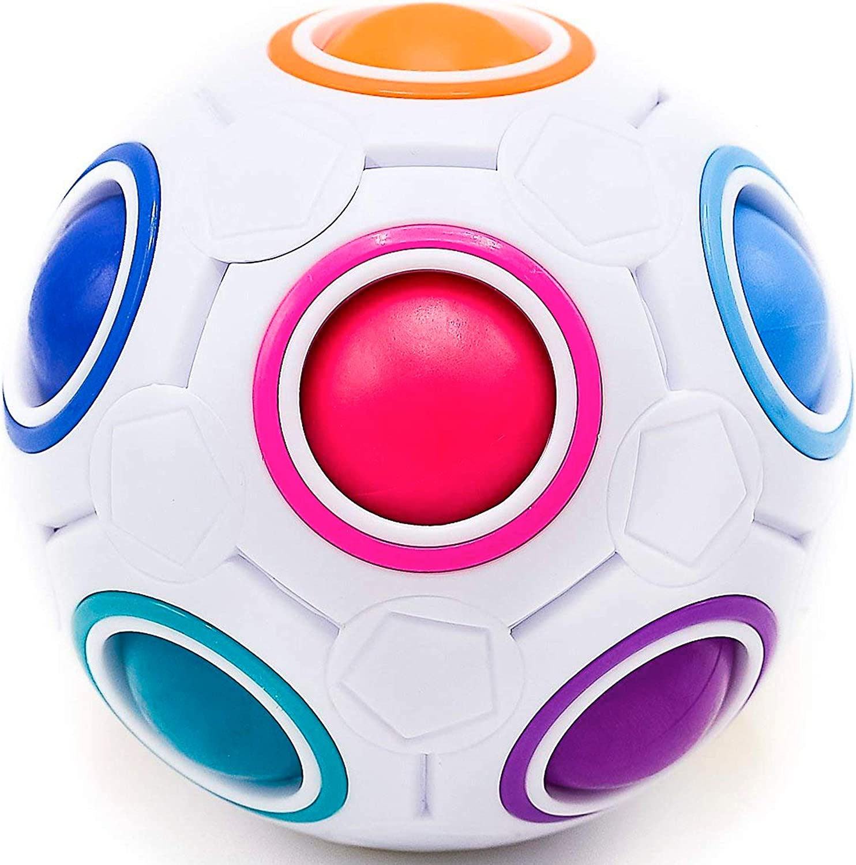 CUBIDI® Pelota Mágica Arco Iris – Magic Rainbow Ball - Pelota Antiestres - Stress Ball Fidget Toy - Juguetes Sensoriales para Anti Estrés - Regalos para Niños y Adultos