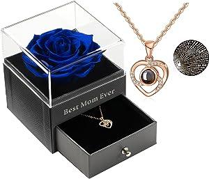 Best Mom Ever Preserved Real Rose Drawer Eternal Preserved Rose Flower with Necklace 100 Languages Gift, Enchanted Real Rose Flower for Valentine's Day for her (Dark Blue Rose)