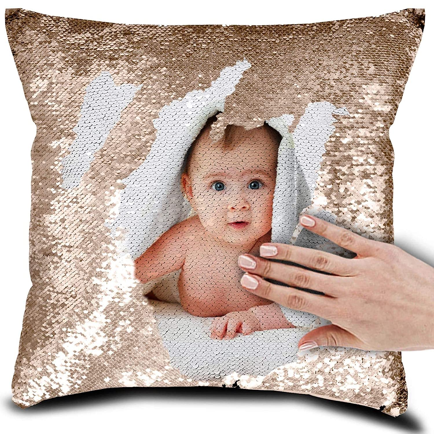 N4U Online Personalised Photo Your Name, Text Sequin Pillow Cushion Cover Magic Reveal Gift - With Insert - Black