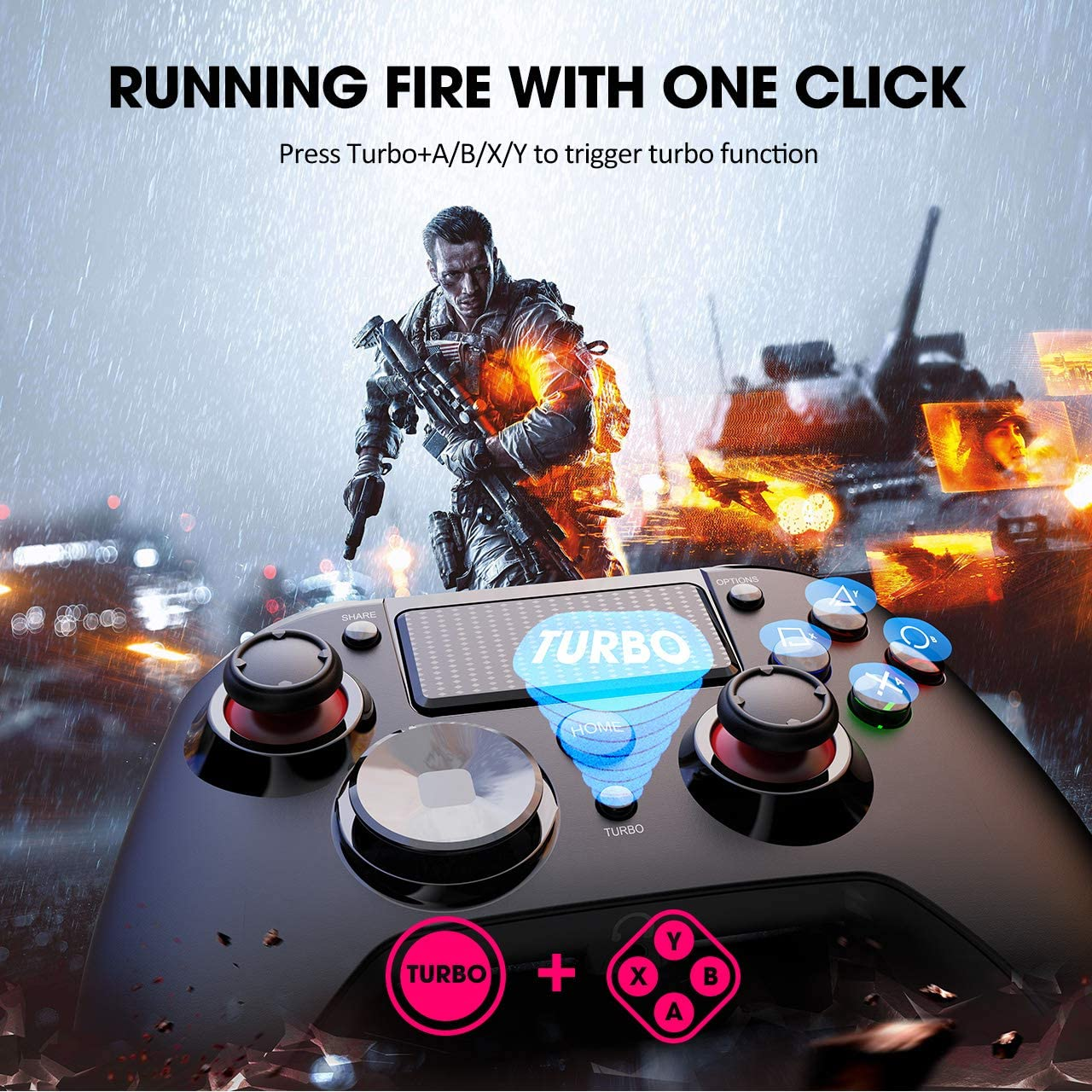 PS3 3-in-1 Wireless Gaming Controller with Vibration Turbo and ...
