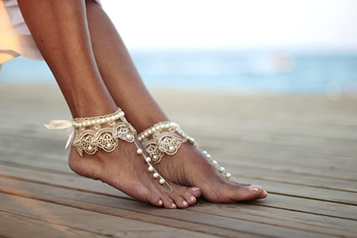 d922cb646 Amazon.com  Dance of the pearls with frilly guipure beach wedding barefoot  sandals
