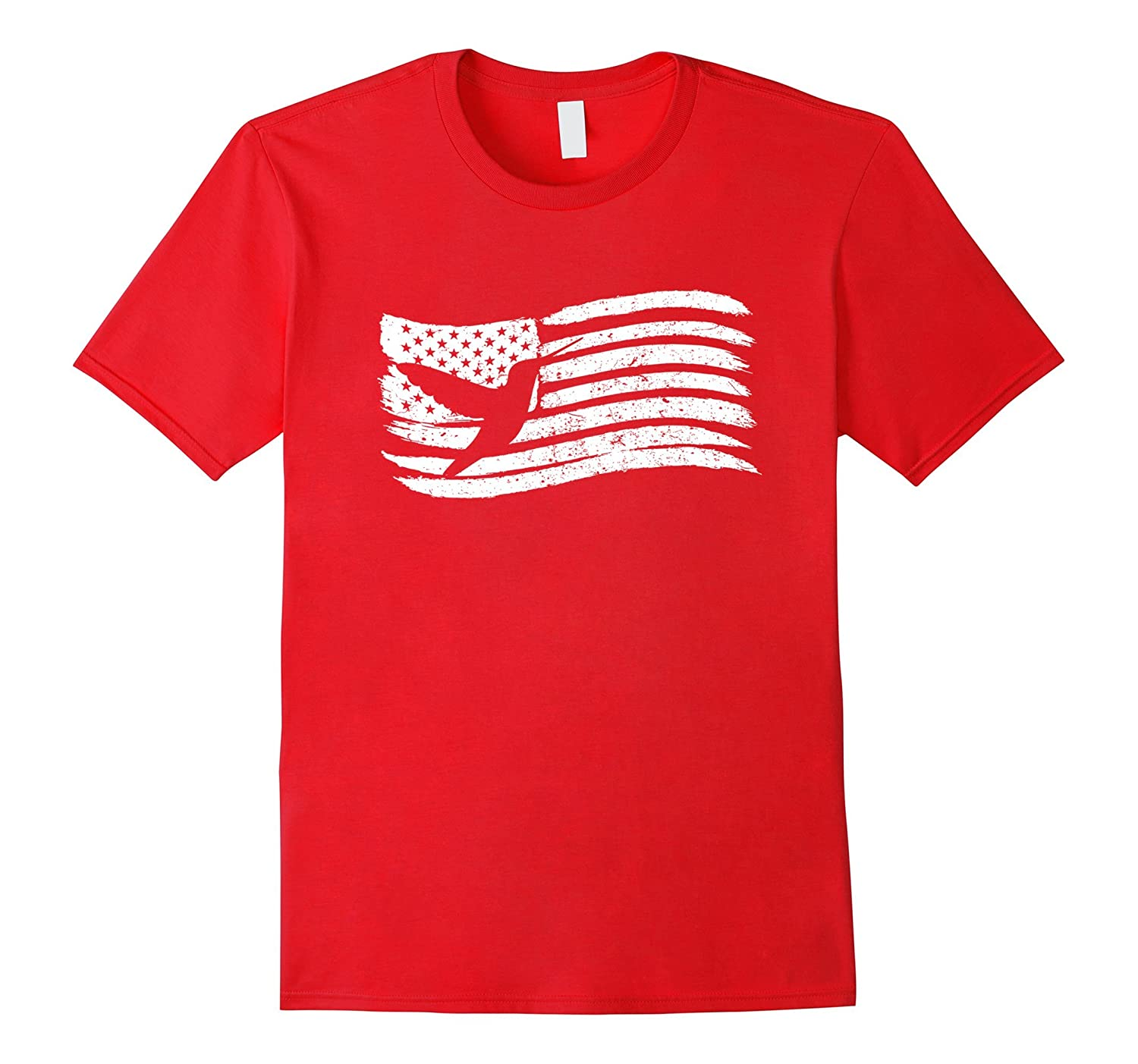 American Flag T-Shirt With Hummingbird Colibri Vintage Look-PL