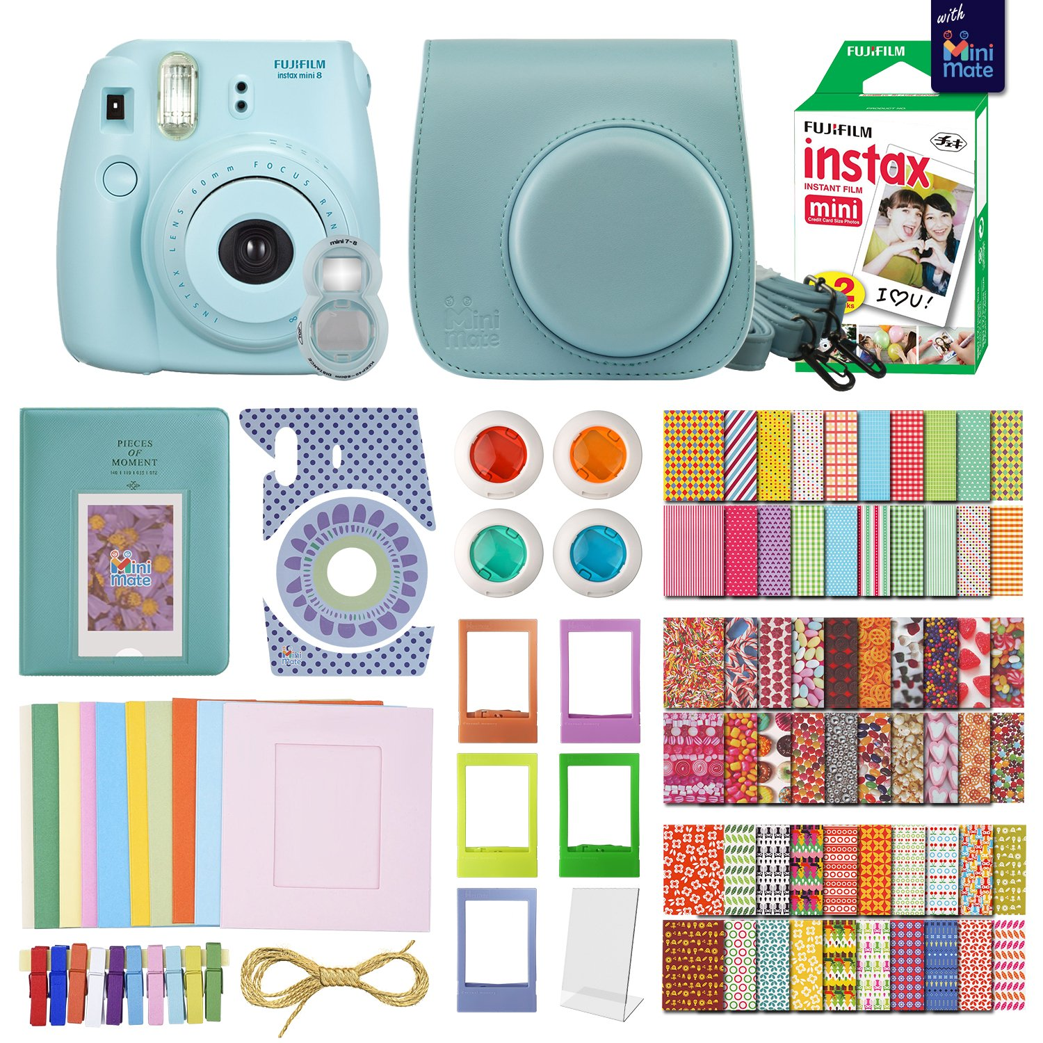 FujiFilm Instax Mini 8 Camera With 20 Instax Film + Accessories KIT for Fujifilm Instax Mini 8 Camera includes: + Custom Fitted Case + Assorted Sticker, Plastic & Paper Frames + Photo Album + MORE by MiniMate