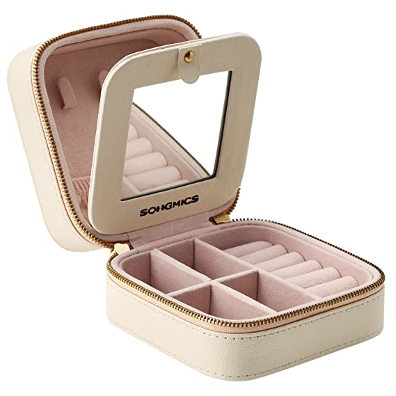 "SONGMICS Small Jewelry Box Portable Travel Case Organizer for Rings Necklaces, Gift for Girls Women, with Mirror and Double Zipper, Beige, UJBC146BE, 4.4"" L x 4.4"" W x 2.4"" H"