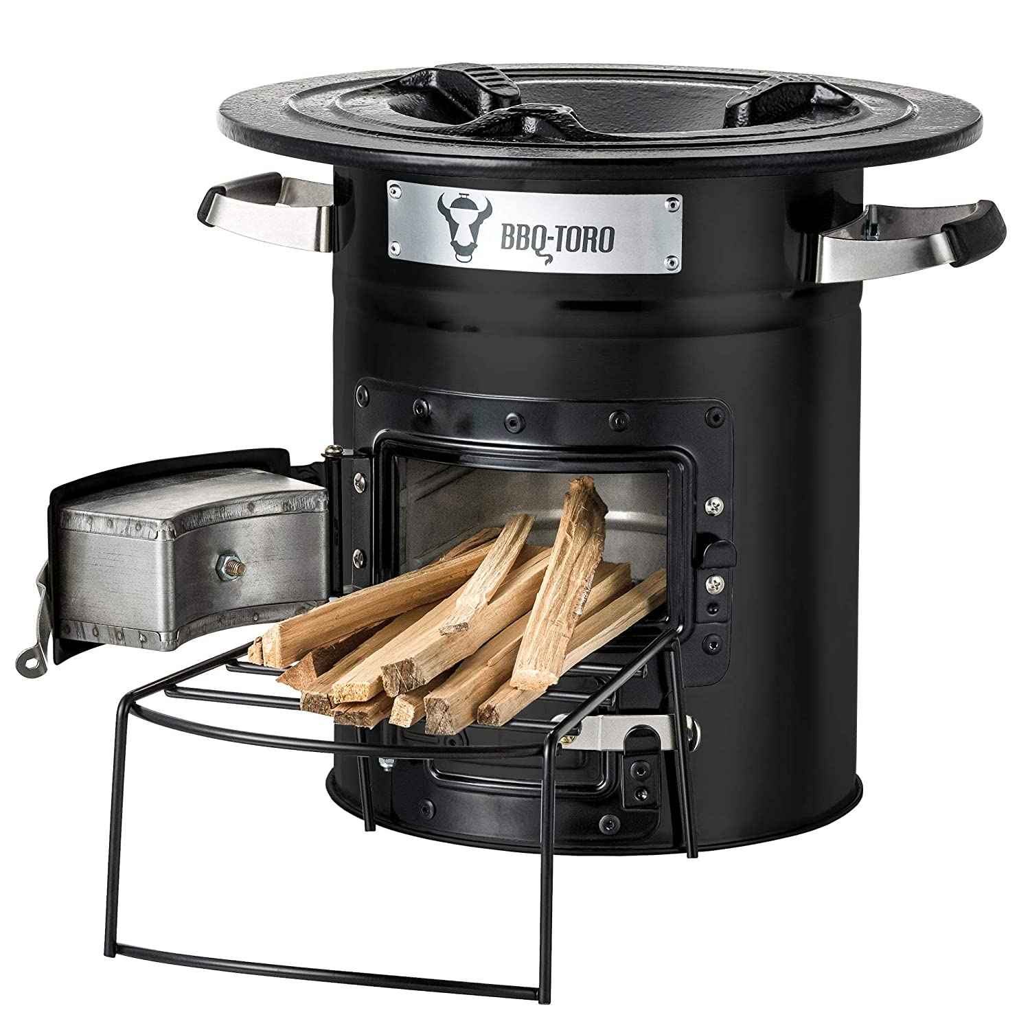BBQ-Toro Rocket Stove RAKETE #2 - Portable Biomass, Wood Burning and Charcoal Survial Camp Stove for Camping and Outdoor