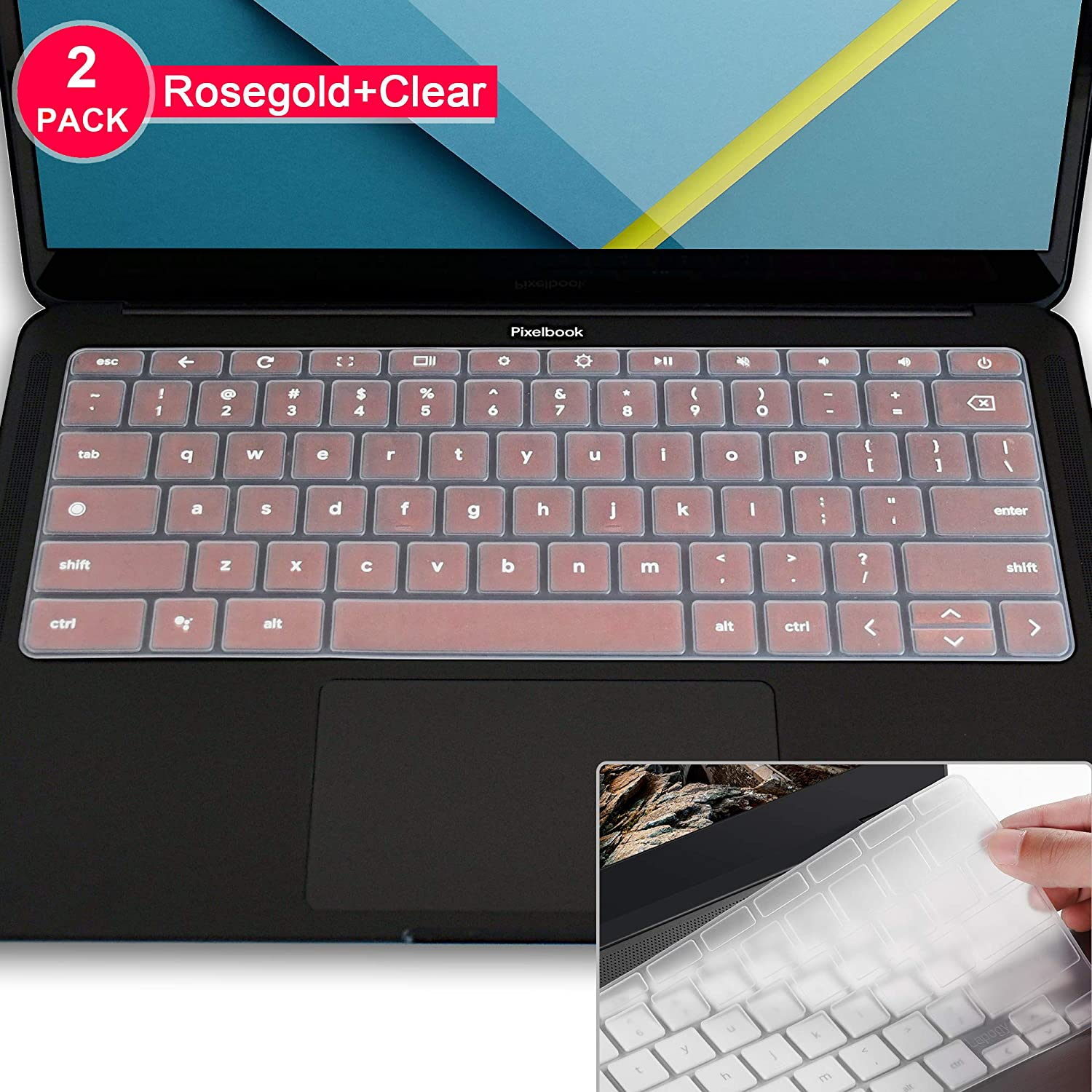 Lapogy Ultra Thin Keyboard Cover Skin Protector Compatible with 13.3 inch Google Pixelbook go,Pixelbook go Accessories(Rosegold+Clear)