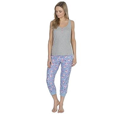 c428bc5582 Forever Dreaming Ladies 100% Cotton Jersey Unicorn Ribbed Vest Novelty  Pajama Set Blue S