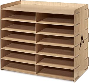 AdirOffice Wood Literature Organizer Sorter - Heavy Duty File Storage - Ideal for Home, Office & School Use (12 Compartment, Wood Grain)