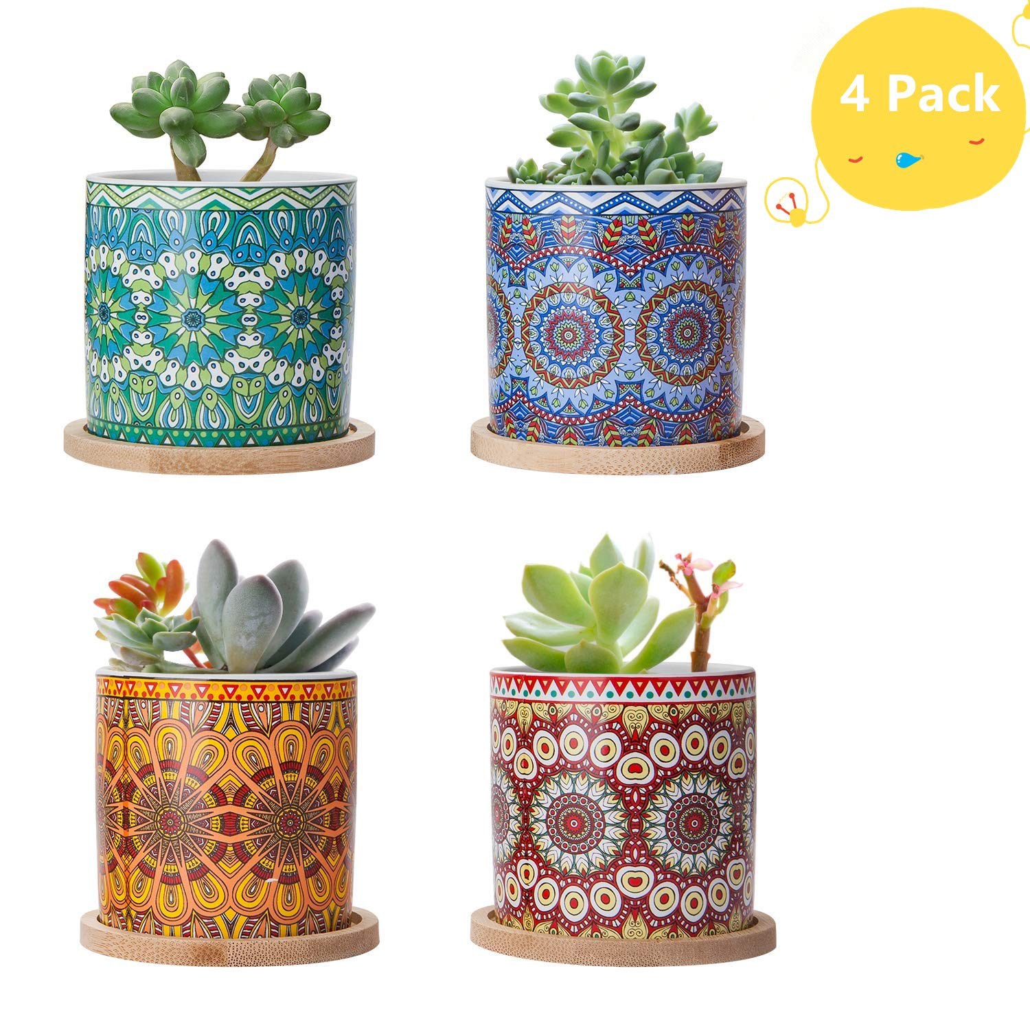 Succulent Plant Pots-3.0 Inch Cylinder Mandalas Style Ceramic Planter for Cactus Succulent Planting with Drainage Hole Bamboo Trays Suitable for Office Premium Gift for Family and Friends-Set of 4 A