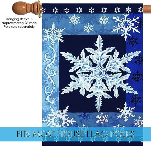 Toland Home Garden Cool Snowflakes 28 X 40 Inch Decorative Blue Winter Snowflake House Flag 102532 Outdoor Flags Garden Outdoor Amazon Com