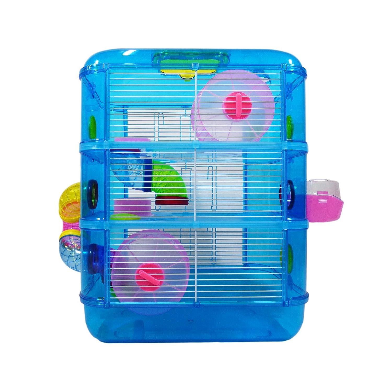 Blauer Hamster-Käfig, 3Ebenen mit Röhren, Rennmaus ...