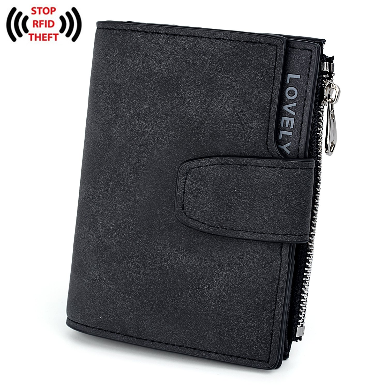 UTO RFID Wallet PU Matte Leather Card Zipper Phone Holder Coin Purse S Black