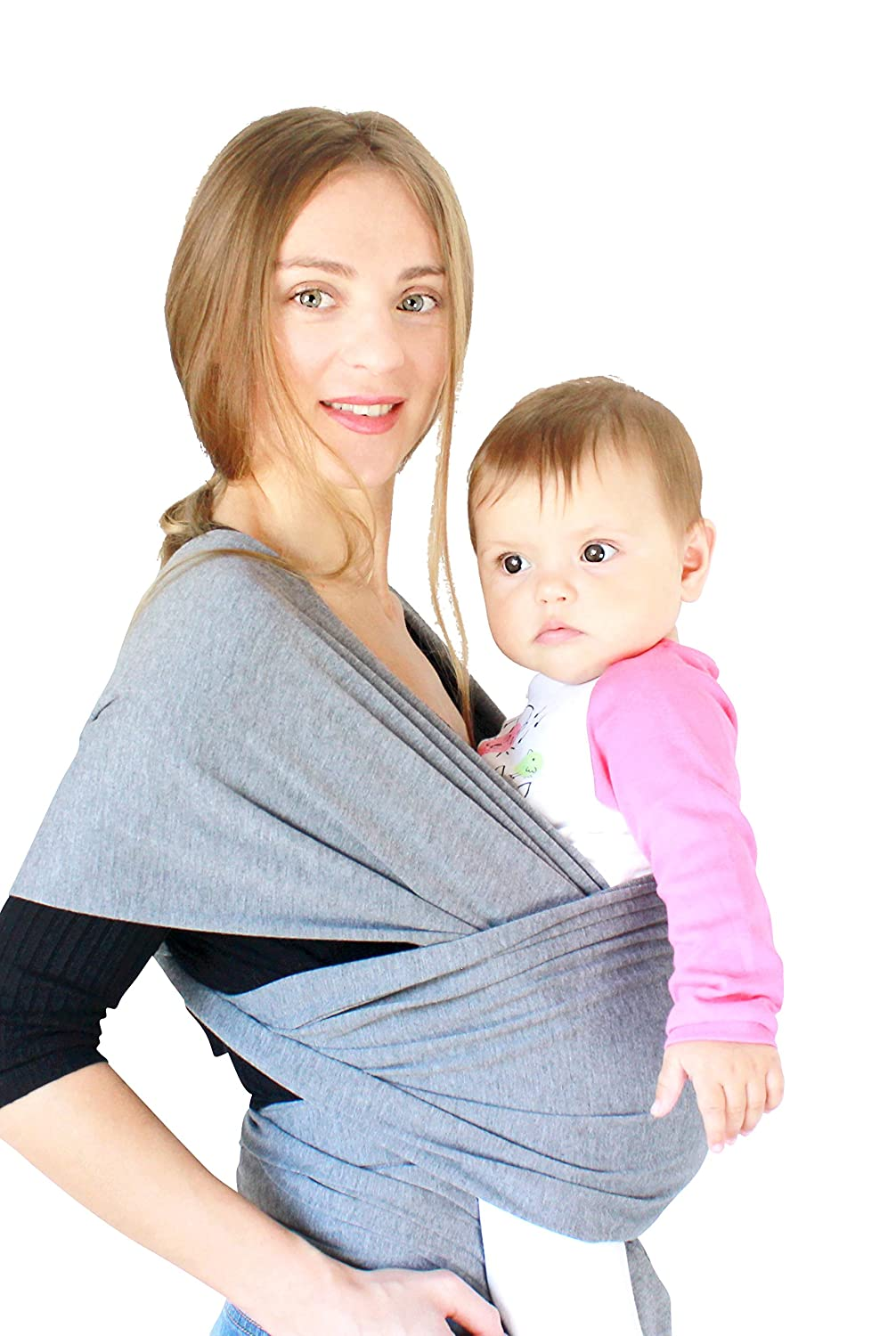 Cuddler Baby Wrap Carrier Sling - Regular and Plus Size - Newborn to Toddler - Multiple Colors - Pacifier Clips Included - Makes A Great Baby Shower Gift (Red)