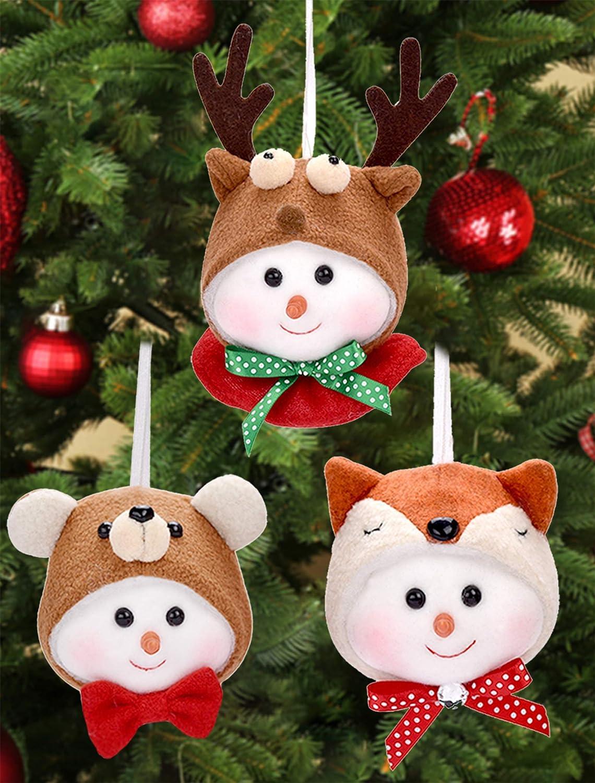 Christmas Tree Ornaments Snowman Bear Reindeer Plush Doll Pendant for Christmas Holiday Decor Xmas Cute Unique Snowman Doll Festival Hanging Decorations 3 Packs