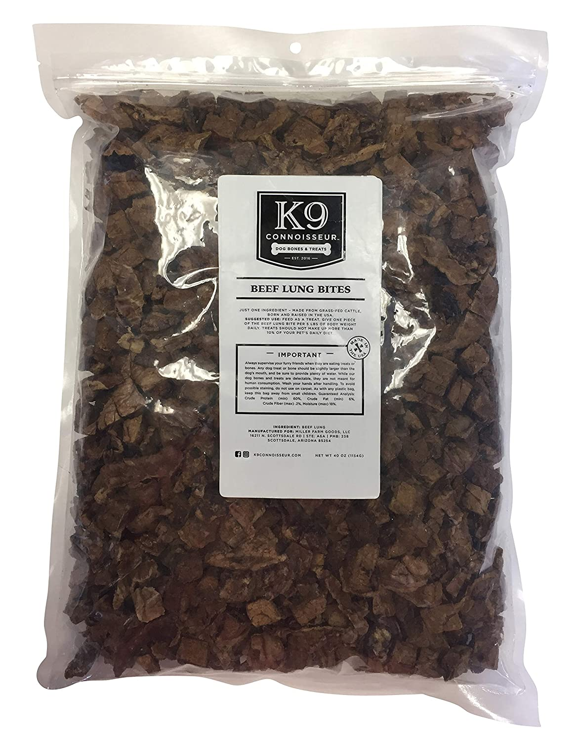 K9 Connoisseur Dog Lung Bites Treats Made in The USA Oderless Grain Free Beef Chew Bites Rich in Protein Best for Puppies, Small, Medium and Large Breed Dogs