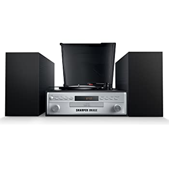 Sharper Image SBT4005 Stereo Turntable Record Player With Speakers, Radio  And CD Player, Bluetooth Enabled (outlet Wired)