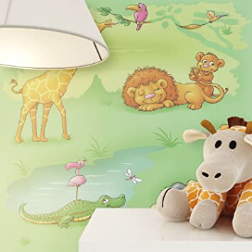 NEWROOM Kindertapete Grün Tiere Giraffe Kinder Papiertapete Blau,Grau,Grün, Orange,Pink