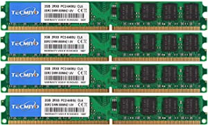 TECMIYO PC2-6400 PC2 RAM (240-Pin DIMM, 800MHZ), DDR2 Ram 8GB Kit (4X2GB) Desktop Memory RAM Modules