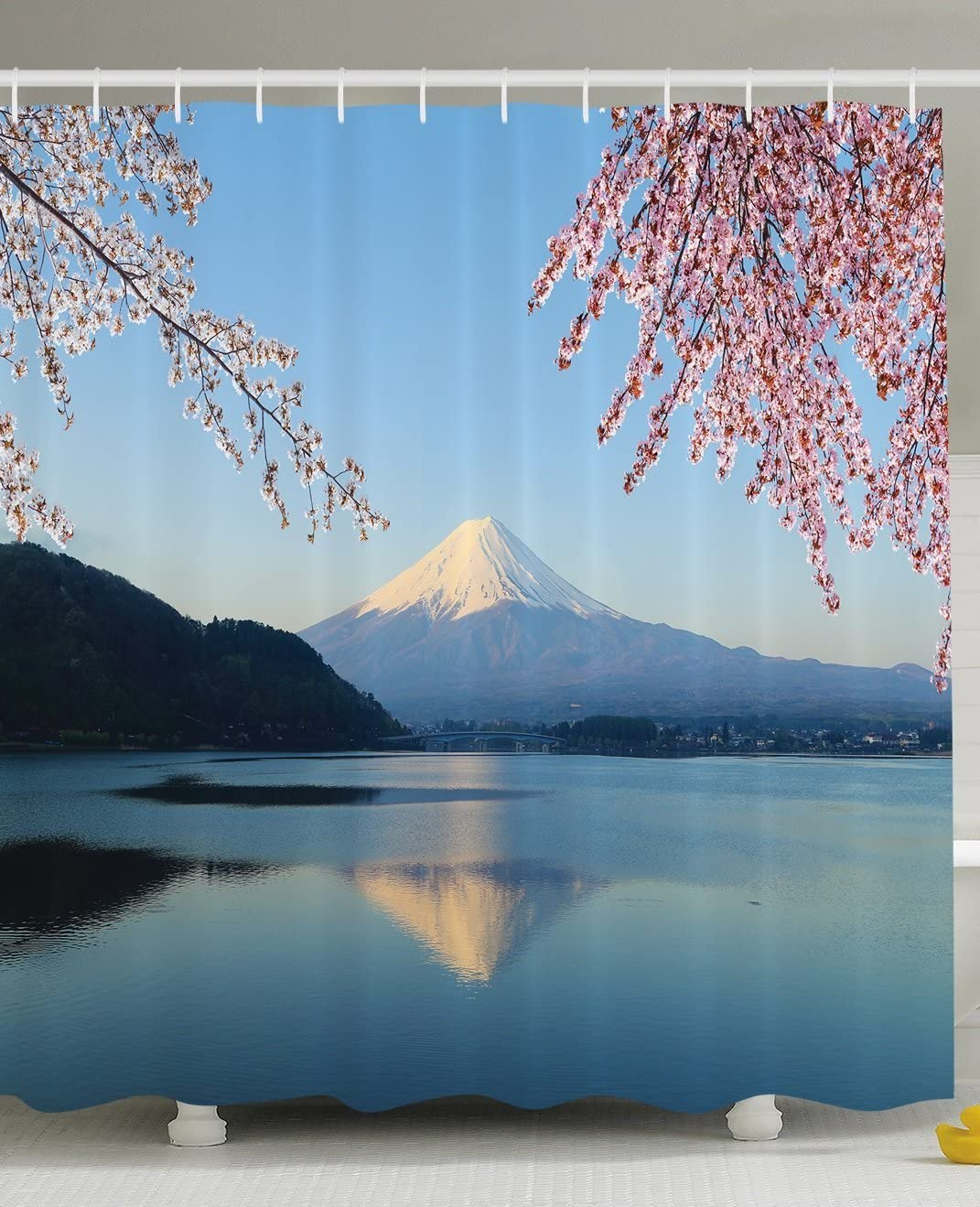 Spring Decor Shower Curtain by Ambesonne, Cherry Blossoms Sakura Snowy Mountain Fuji Lake View Picture Print, Polyester Fabric Bathroom Set with Hooks, 69 X 70 Inches, Blue Pink and White