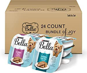 Purina Bella Natural Small Breed Pate Wet Dog Food Variety Pack, Filet Mignon & Porterhouse Steak in Juices - (24) 3.5 oz. Trays