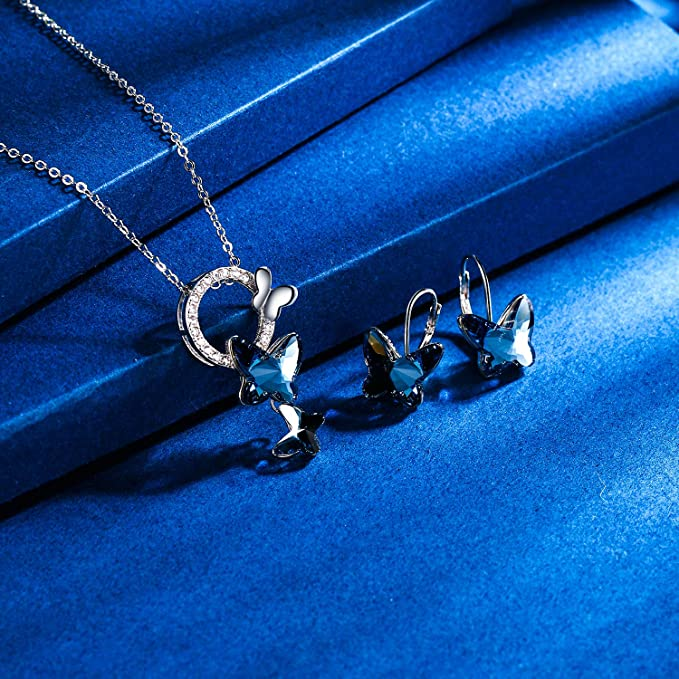 Butterfly Necklace /& Earring Set Blue Stone Marquasite Sterling Silver