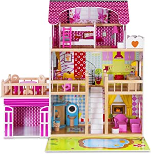 KIDDERY TOYS Wooden Modern Dollhouse Villa with Furniture Kit for Toddler Girls - with 15 Movable Objects, Terrace, Kitchen, Chairs, Bedroom and More- Perfect Present