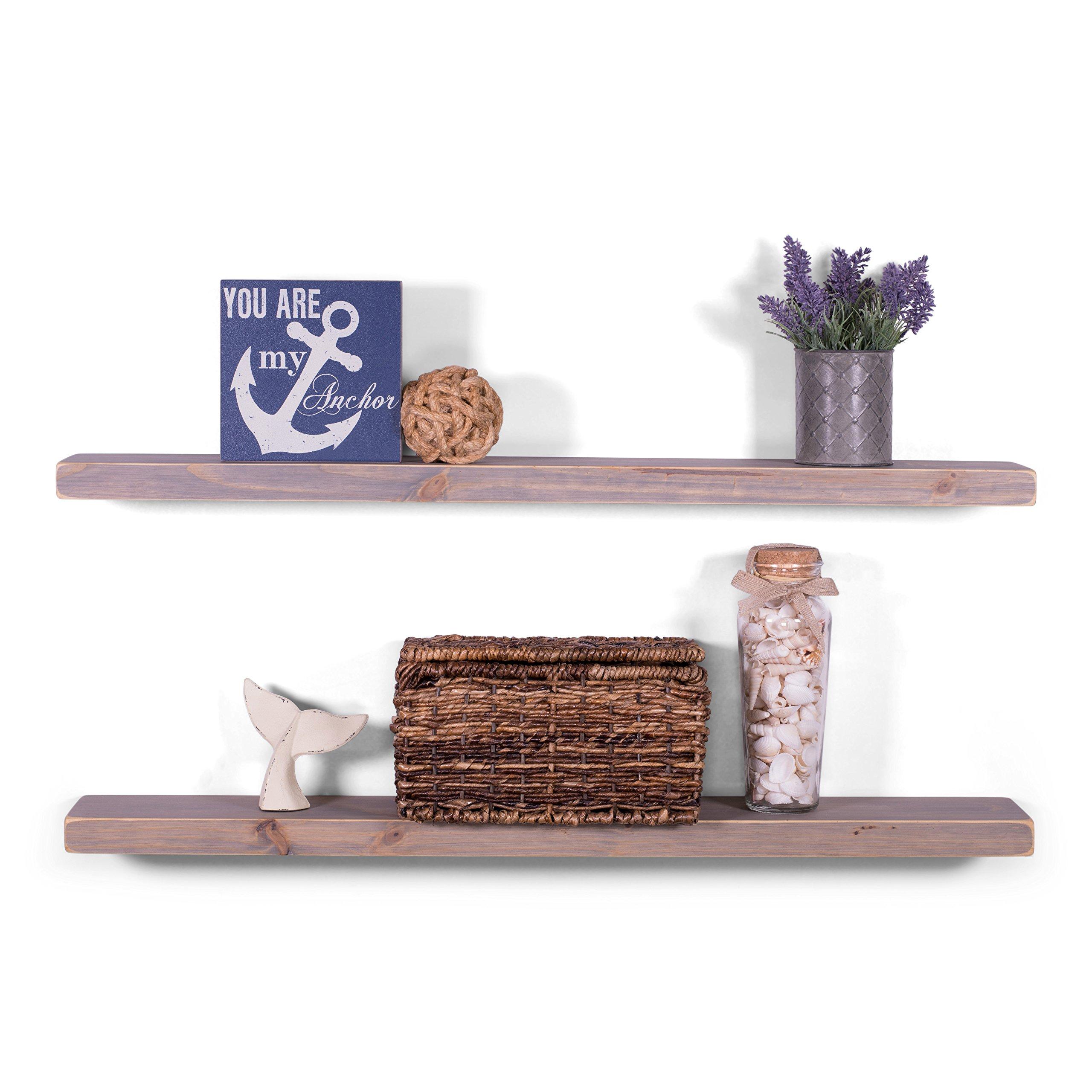 DAKODA LOVE 5.25'' Deep Weathered Edge Floating Shelves, USA Handmade, Clear Coat Finish, 100% Countersunk Hidden Floating Shelf Brackets, Beautiful Grain Pine Wood Rustic (Set of 2) (36'', Greige)