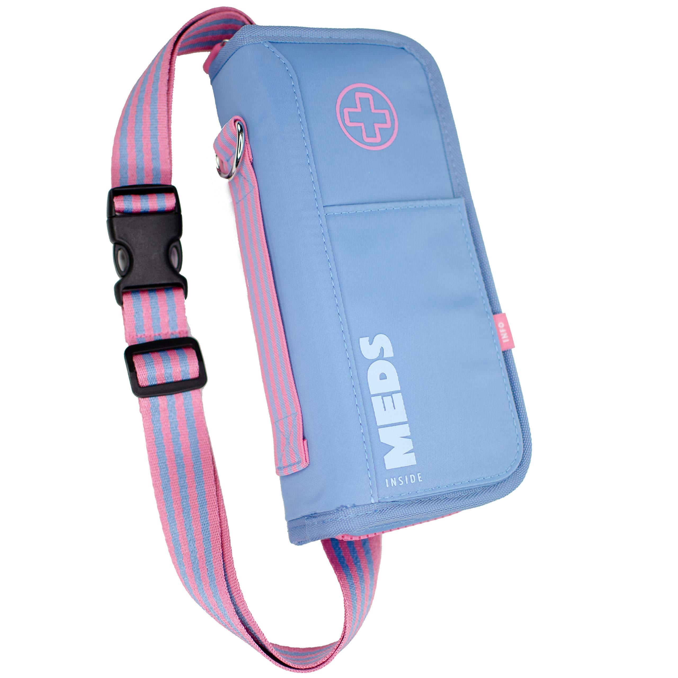 EpiPen Carrying Case for Kids & Adults -''Grace Blue'' Allergy Medical Bag, Epi Pen Fanny Pack - Emergency Medical Carrying Case w/Medicine Bottle Holds:Daily Meds, EpiPens, Inhalers & ID Card