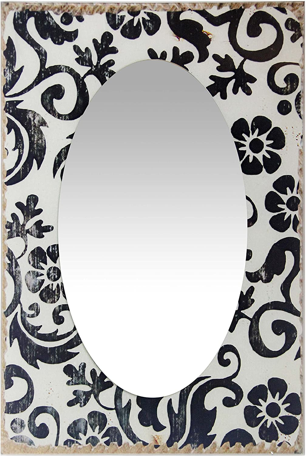 French Country Floral Rectangular Large Oversized Decorative Wall Mirror 23.5 inch Black & White Paint Frame by Infinity Instruments
