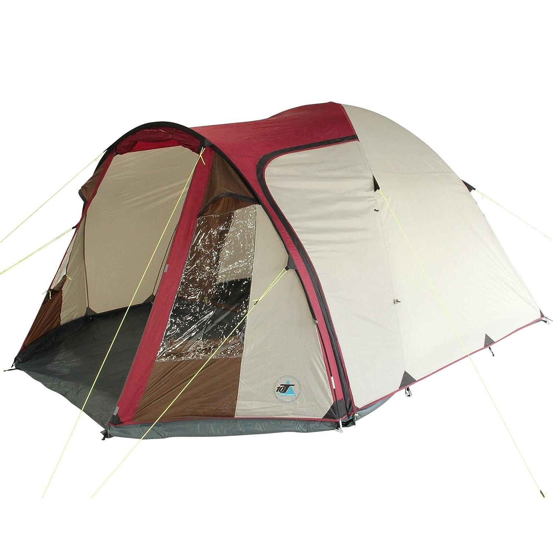 10T Corowa 5 ROT - 5 Personen Kuppelzelt mit Stehhöhe, Campingzelt mit 2 Eingängen, wasserdichtes Trekking-Zelt mit 5000mm, Festivalzelt inkl. Vorraum-Bodenplane, Familienzelt mit Schlafkabine, Igluzelt mit Tragetasche, Zeltheringe und Gestä