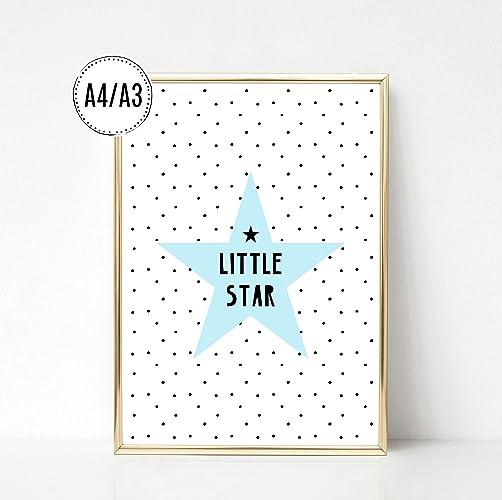 Kinderposter Kinderzimmerbild Spruch Little Star Mit Stern