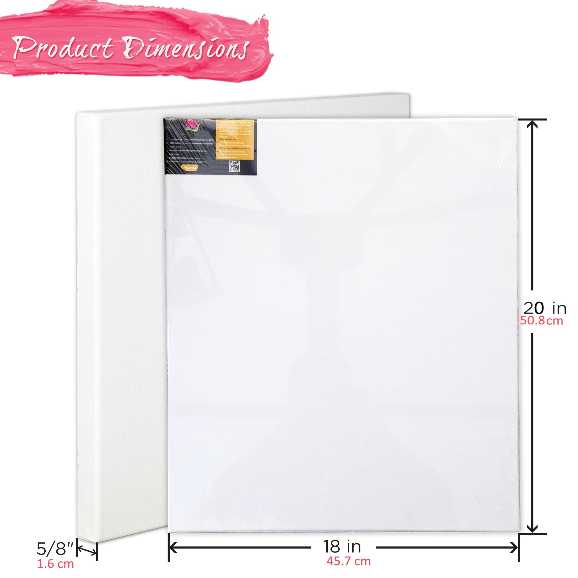 Stretched Canvas Panel Frames EXTRA LARGE 18 x 20 Inches (45.7 cm x 50.8 cm) Professional Quality Acid-Free Artist Canvas Boards for Painting 2 pack Triple Primed with Gesso By Crafts 4 ALL