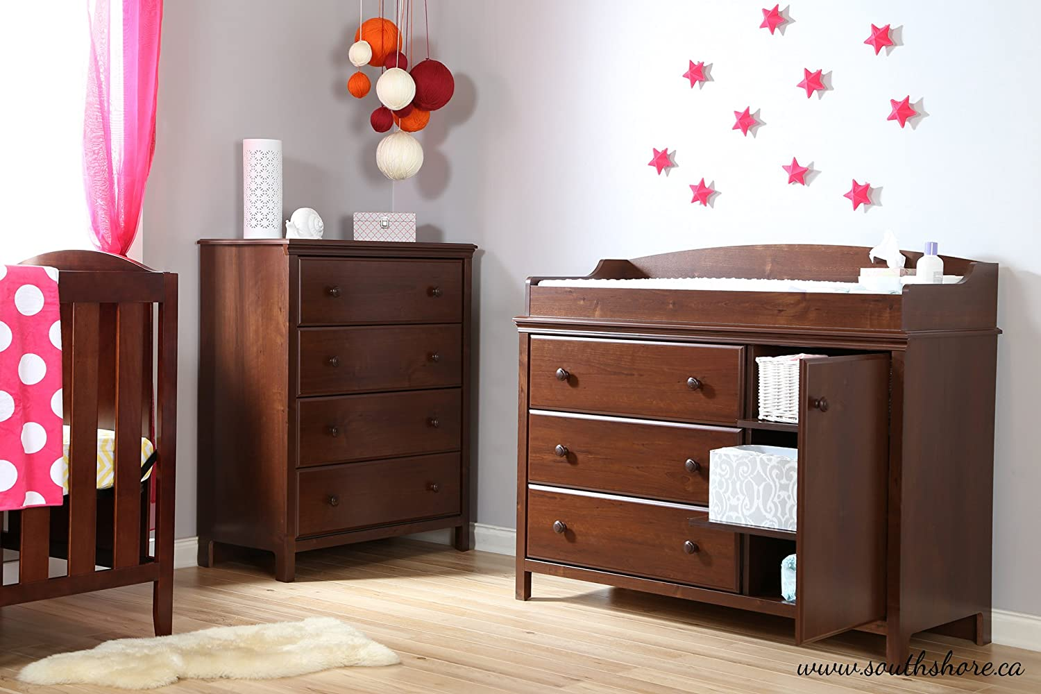 Amazon.com : South Shore Cotton Candy Changing Table With Removable Changing  Station, Sumptuous Cherry : Kitchen U0026 Dining