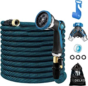 """Delxo 100Ft Expandable Garden Hose Kit Include 7, Flexible Water Hose with 9-Function High-Pressure Metal Spray Nozzle, Leakproof Design 3/4""""Solid Brass Fittings Lightweight But Heavy Duty Hose Blue"""