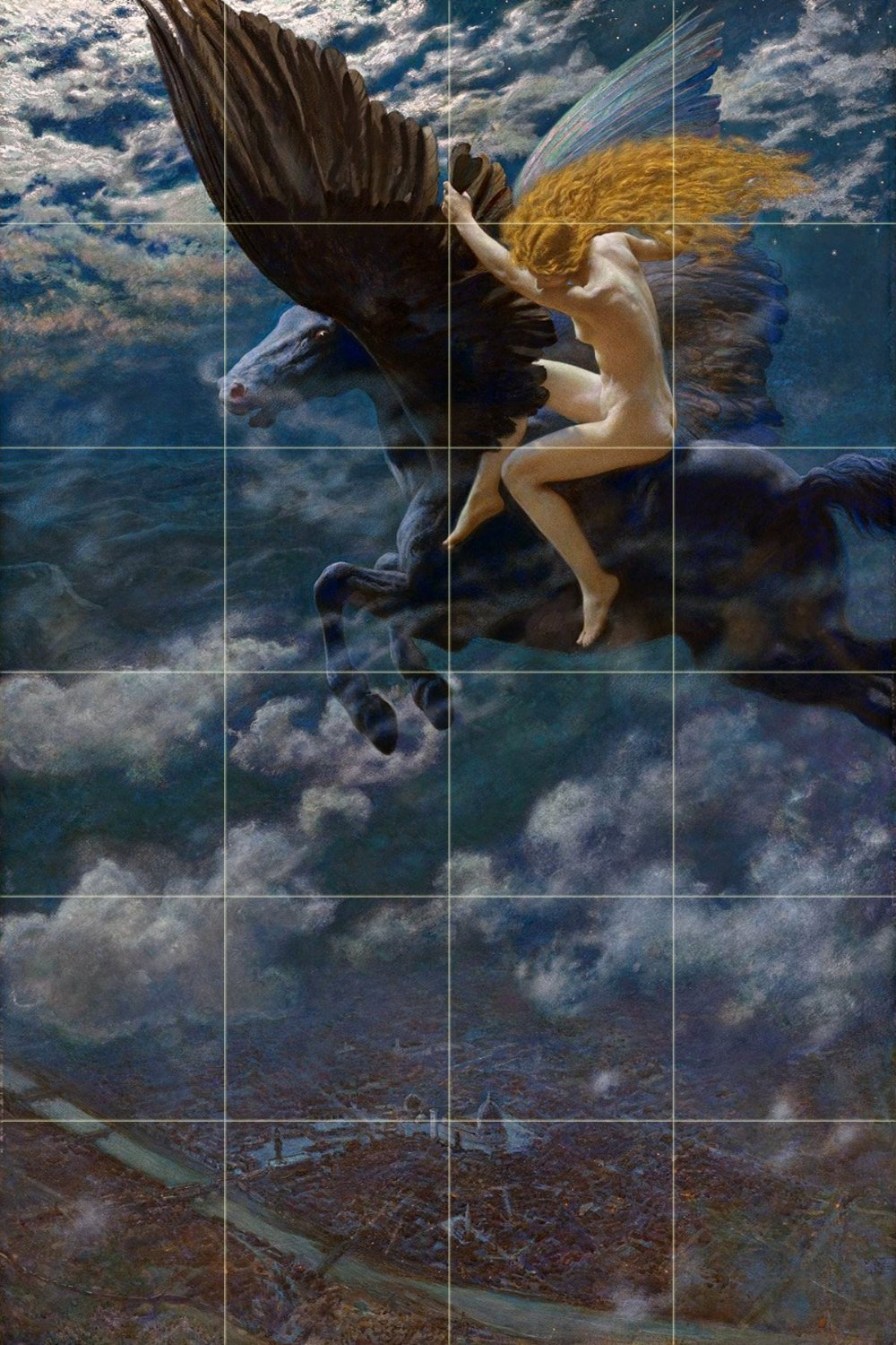 Dream Idyll (A Valkyrie) by Edward Robert Hughes Tile Mural Kitchen Bathroom Wall Backsplash Behind Stove Range Sink Splashback 6x4 4'' Marble, Matte