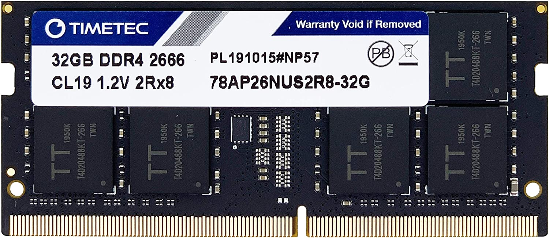 Timetec Hynix IC 32GB DDR4 2666MHz PC4-21300 Unbuffered Non-ECC 1.2V CL19 2Rx8 Dual Rank 260 Pin SODIMM Laptop Notebook Computer Memory RAM Module Upgrade (32GB)