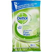 Dettol Anti-Bacterial Floor Wipes Lime & Mint Household Disinfectant (Count of 15)