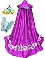 FROZEN ANNA ELSA Coronation Costume Girl's LONG Cape CLOAK + GLOVES +TIARA Crown