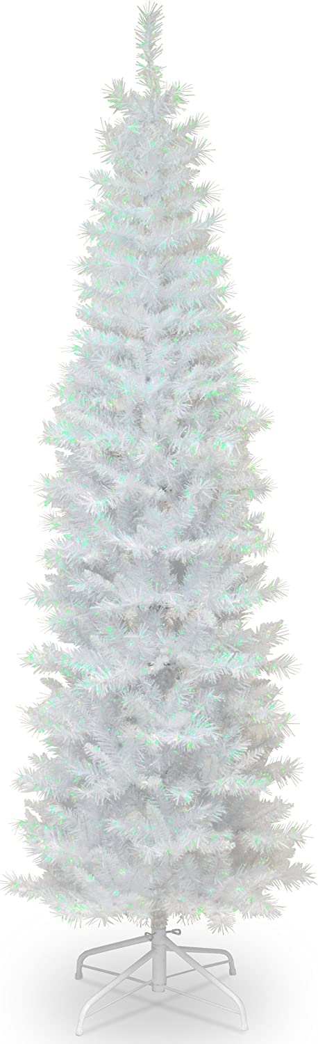 National Tree Company Artificial Christmas Tree | Includes Stand | White Iridescent Tinsel - 7 ft