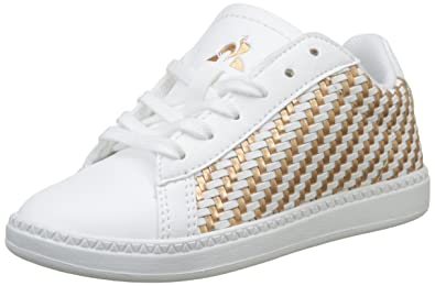 8c16cdc67e97 Le Coq Sportif Girls  Courtset Gs Woven Optical White Rose GOL Trainers